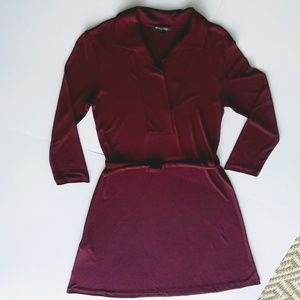 Massimo Dutti Cranberry Color Belted Dress XS